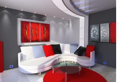 idee deco salon rouge blanc noir. Black Bedroom Furniture Sets. Home Design Ideas