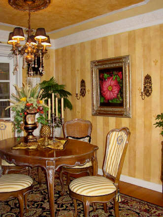 The Decorated House The Yellow Gold Stripe Dining Room