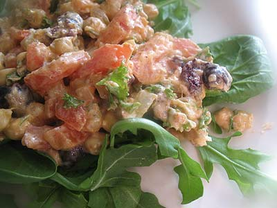 Chickpea Salad with Goat Cheese, Olives and Arugula