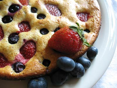 Baked Whole-Wheat Strawberry and Blueberry Pancakes