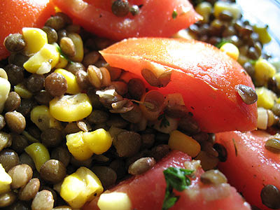 French Lentil Salad with Sweet Corn and Tomato
