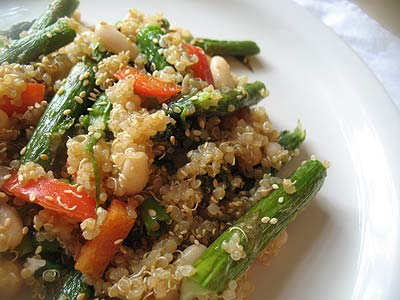 Quinoa and White Bean Salad with Wasabi and Roasted Asparagus