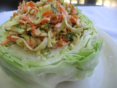 Whole Cabbage Stuffed with Coleslaw