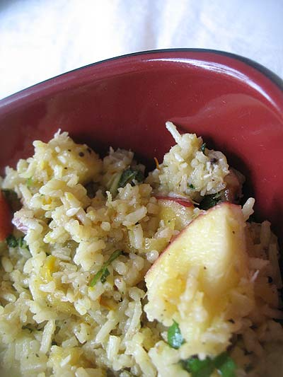 Curried Rice and Fruit Salad with Fresh Mango Dressing