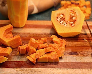 And then into cubes (How to Safely Cut a Butternut Squash into Pretty Little Cubes, Step by Step ♥ AVeggieVenture.com)