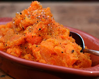 Rustic Mashed Sweet Potatoes & Carrots ♥ KitchenParade.com