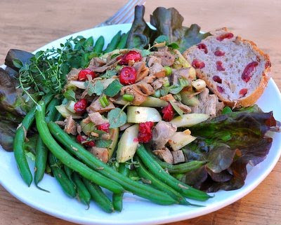 Turkey Salad Supper with Green Beans & Dried Cranberries
