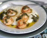 Seared Scallops with Chimichurri and Garlicky Polenta