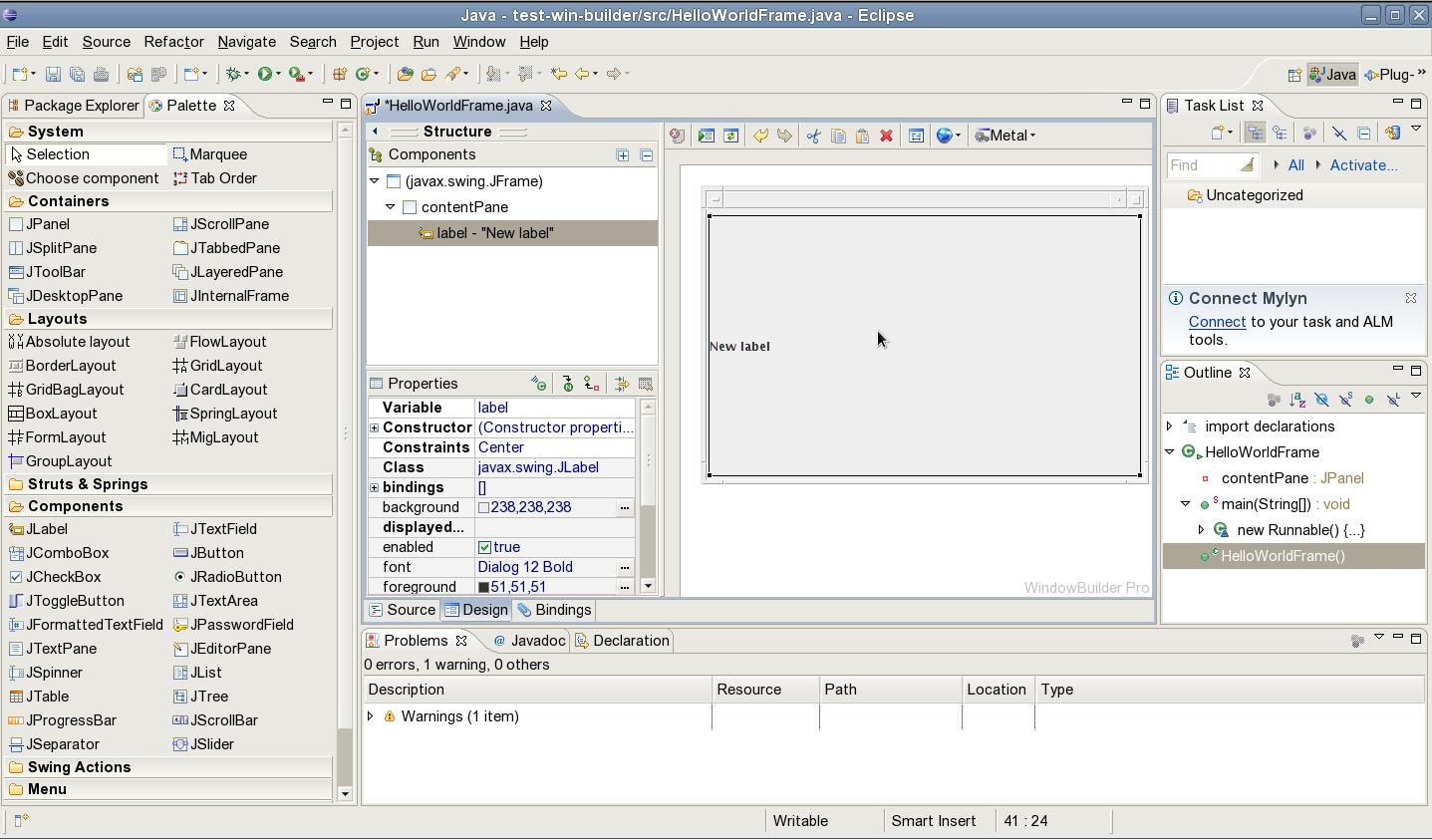 jcafe info: WindowBuilder Pro, Hello World Java Swing