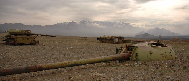 USSR red army tanks graveyard, east of Kabul, Afghanistan