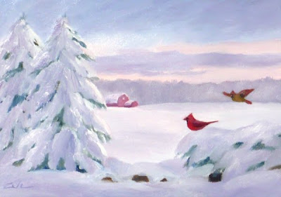 Snow, Cardinals and Red Barn oil painting
