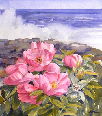 Beach Roses and Ocean Surf