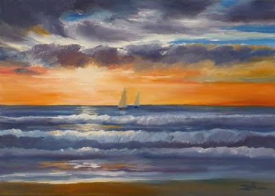 Ocean Sunset seascape oil painting