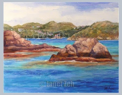 St. Barts Harbor watercolor