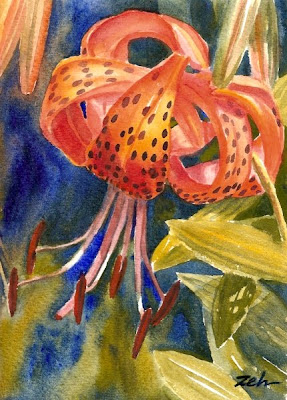 Tiger Lilies watercolor painting
