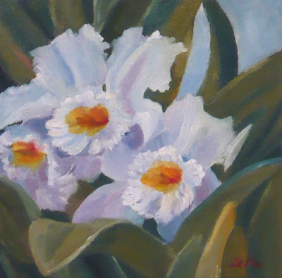 White Orchids oil painting