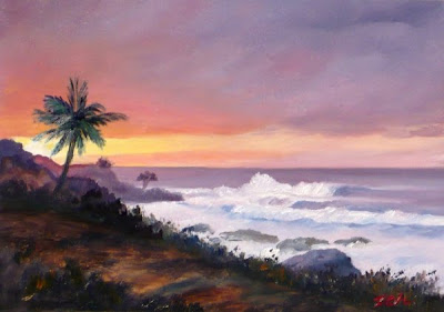 Waimea Bay Hawaii seascape oil painting