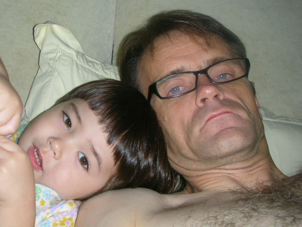 Dad is bare and masturbating