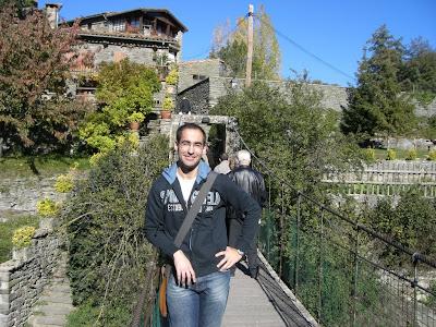 Suspension bridge in the medieval village of Rupit