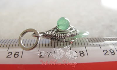 tiny size of the wire wrapped jade pendant - pipa wrap