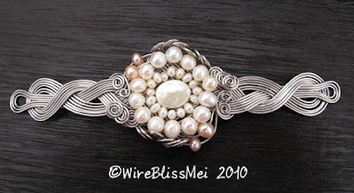 Meet Me Halfway Braided Wire Cuff with Pearl
