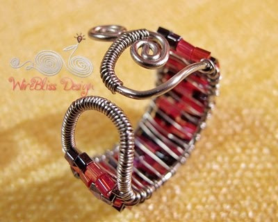Wire wrapped seed beads adjustable ring