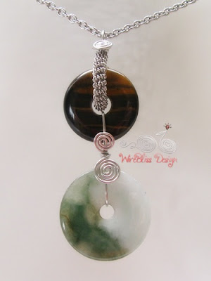 wire wrapped double donuts pendant - tiger eye and jade