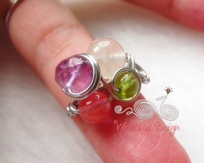 wire wrapped furity ring with mixed gemstones -Amethyst, Moonstone, Tourmaline