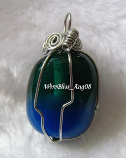 wire wrapped glass pendant