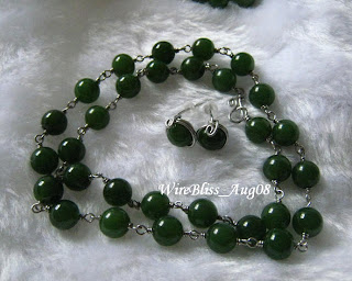 Wire Wrapped Jade Necklace and Earrings