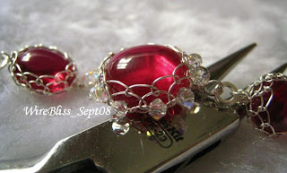 Wire Wrap Ruby Bracelet, Netted Bezel