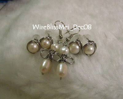 few pairs wire wrap pearl earrings