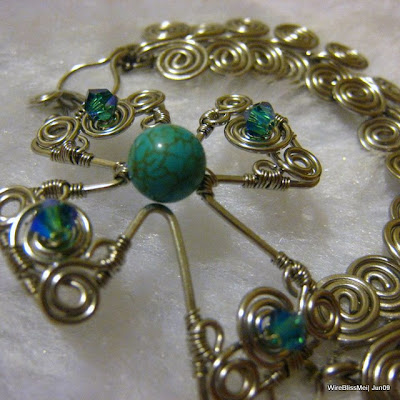 wire wrapped swirly cross with egyptian coil bracelet - 8mm turquoise focal
