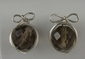 Wire Wrapped Stud Earrings with Bows by Don