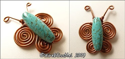 simple copper wire butterfly brooch