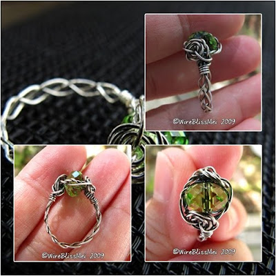braided wire ring with wire rose accent