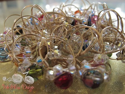 A bunch of Sparkly Crystal Rings with Swarovski Crystals