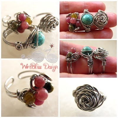 Twice Around the World (TAW) Wire Wrap Ring (Turquoise) and Wire Wrapped Rings Collection