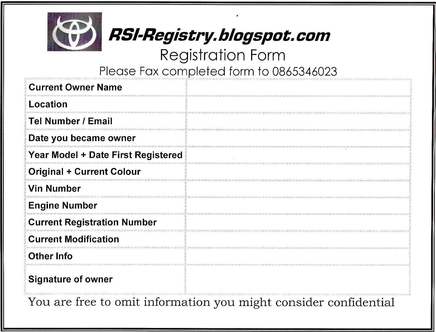 The Rsi Registry Registration Form For The Rsi Registry