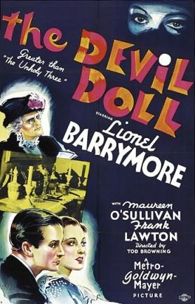 Cartel de The Devil Doll (1936), una excelente película dirigida por Tod Browning