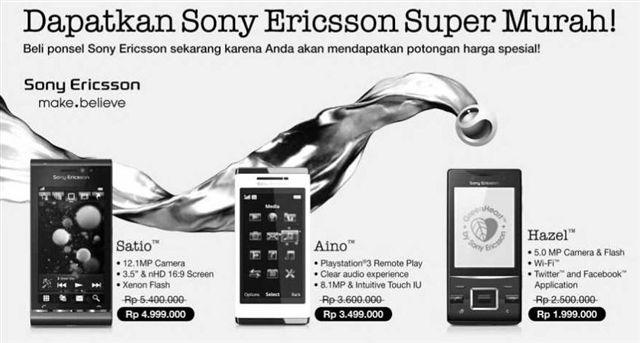 Harga spesial 3 ponsel Sony Ericsson