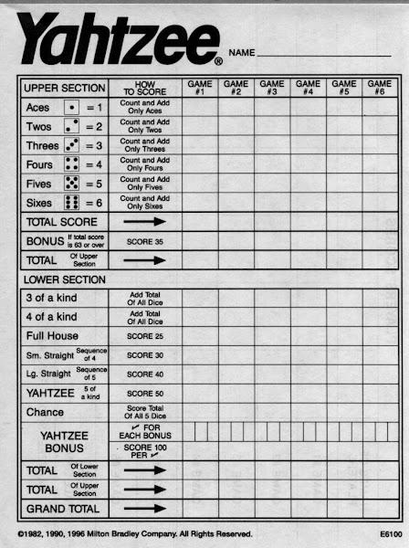 Free Printable Power Yahtzee Score Sheets - Coloringsnet