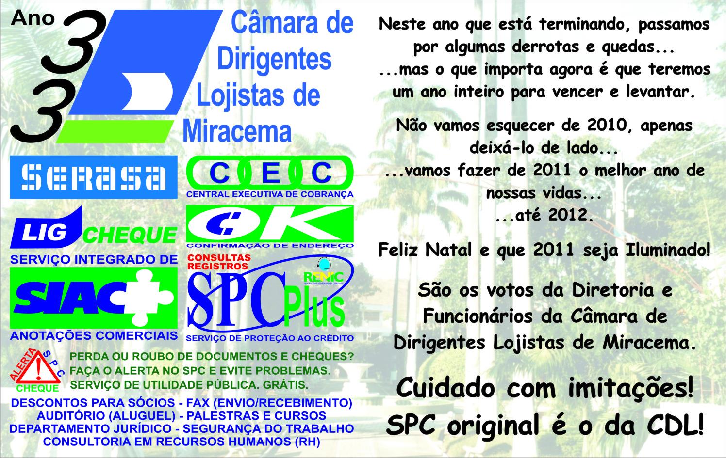 9167c9d9e Câmara de Dirigentes Lojistas de Miracema  2010