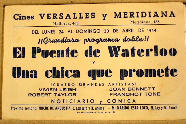 El Puente de Waterloo, Programa de Mano, Robert Taylor, Vivien Leigh