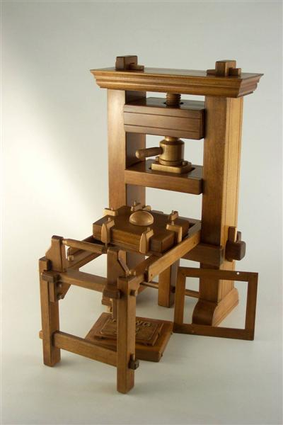 Artist In Wood Gutenberg Printing Press 2 Quot X4 Quot X8