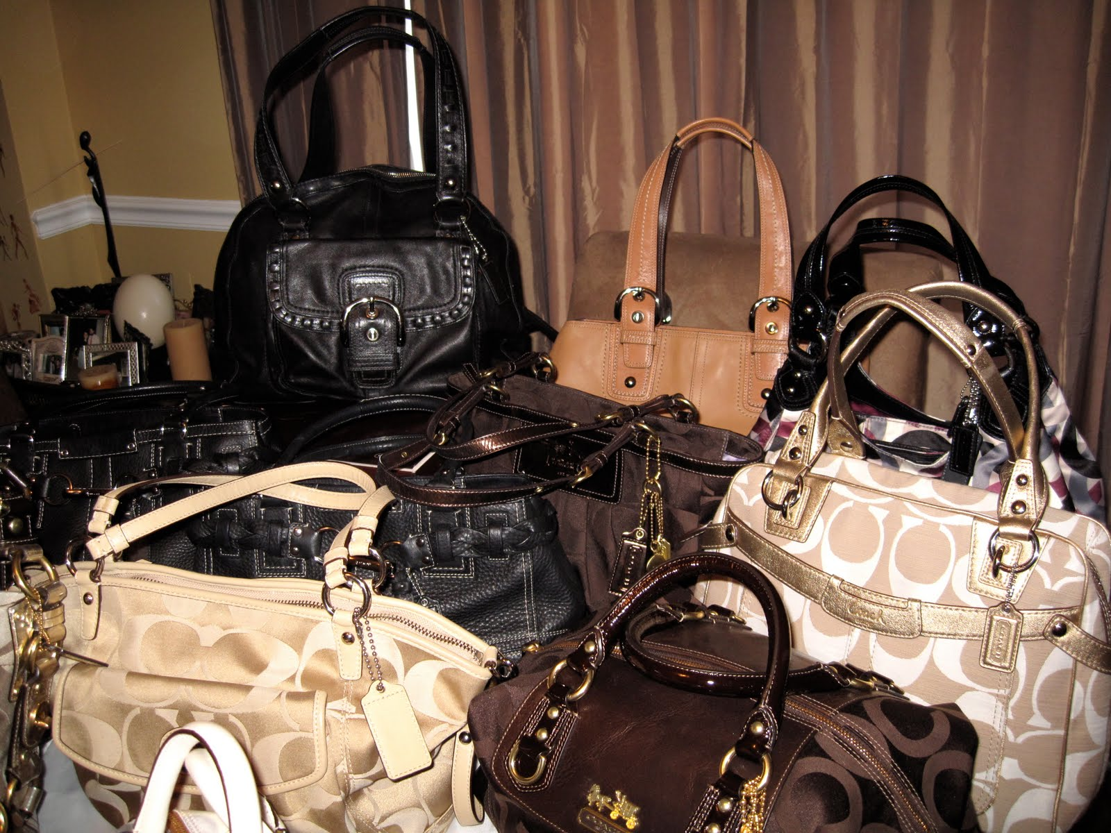487ddd0ed203 ... cheap my coach purse collection back leather left coach dome satchel  cream white gold right penelope