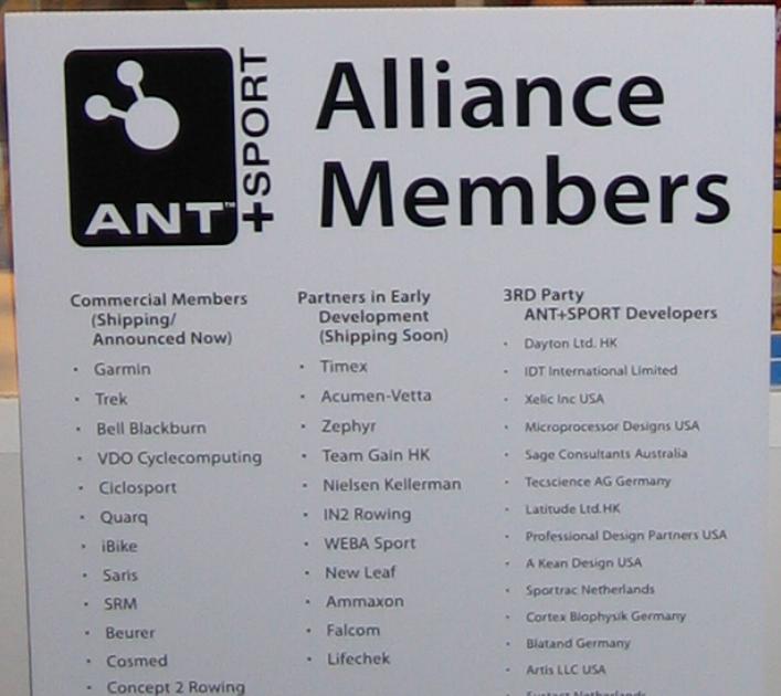 WSN Observation: ANT+Sport Alliance Member List