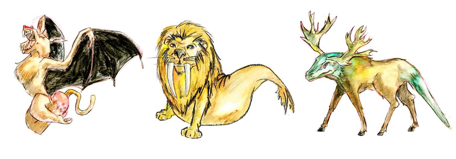 Ashley's Doodles: Mixed Animals.