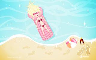 Meisje op luchtbed