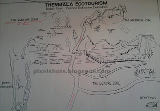 thenmala eco tourism map photo,area map of thenmala ecotour project drawn in the wall of tourist facilitation centre